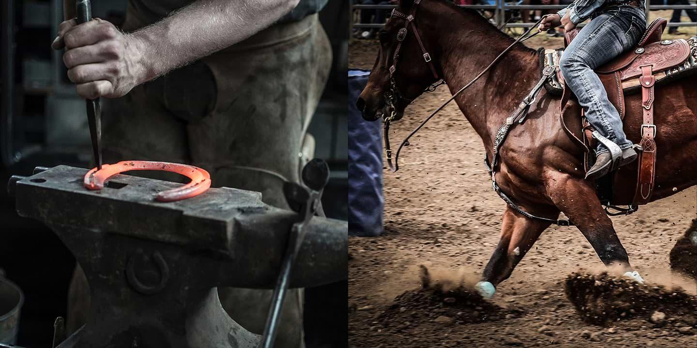 Blacksmith hammering red hot horseshoe and rodeo cowboy rounding barrel